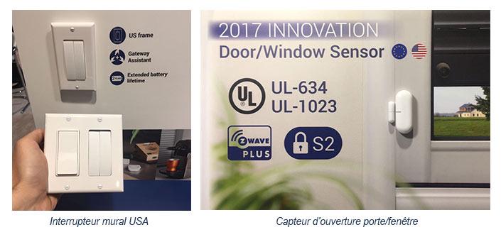 Interrupteur mural USA et capteur d'ouverture porte/fenêtre Z-Wave